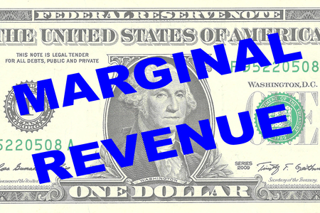 one dollar bill: Render illustration of MARGINAL REVENUE title on One Dollar bill as a background