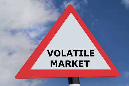 hold high: 3D illustration of VOLATILE MARKET script on road sign. Business concept. Stock Photo