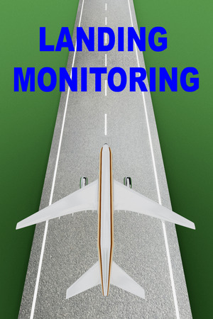 throttle: 3D illustration of LANDING MONITORING title over a landing airplane Stock Photo