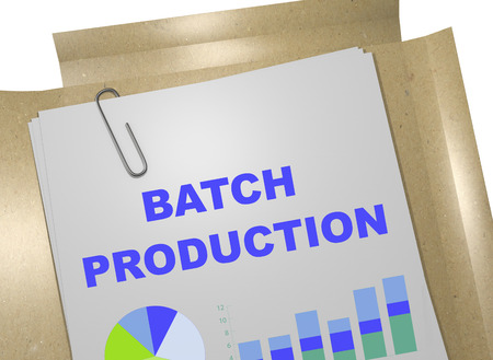 batch: 3D illustration of BATCH PRODUCTION title on business document