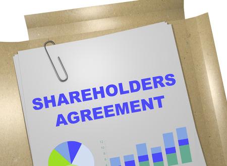 stockholder: 3D illustration of SHAREHOLDERS AGREEMENT title on business document