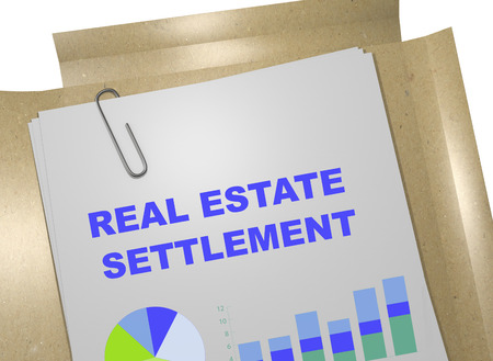 the settlement: 3D illustration of REAL ESTATE SETTLEMENT title on business document
