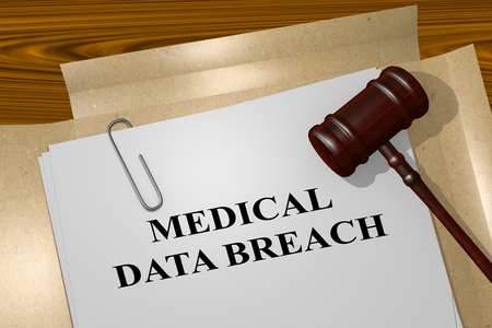 breach: 3D illustration of MEDICAL DATA BREACH title on legal document