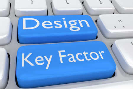 factor: 3D illustration of computer keyboard with the script Design Key Factor on two adjacent pale blue buttons