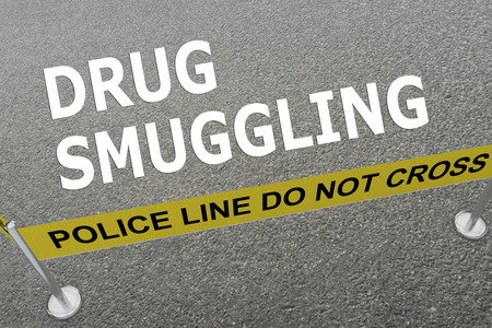 smuggling: 3D illustration of DRUG SMUGGLING title on the ground in a police arena