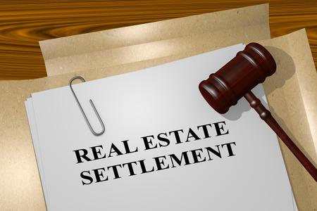 the settlement: 3D illustration of REAL ESTATE SETTLEMENT title on legal document