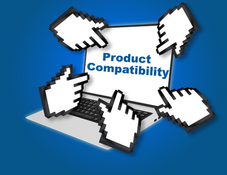 compatibility: 3D illustration of Product Compatibility script with pointing hand icons pointing at the laptop screen from all sides Stock Photo