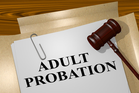 conviction: 3D illustration of ADULT PROBATION title on legal document