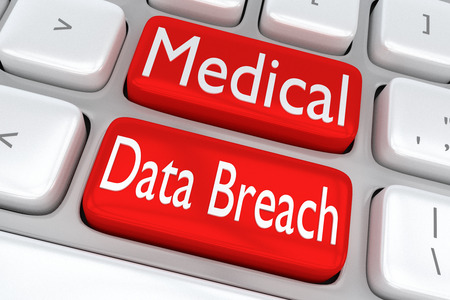breach: 3D illustration of computer keyboard with the print Medical Data Breach on two adjacent red buttons