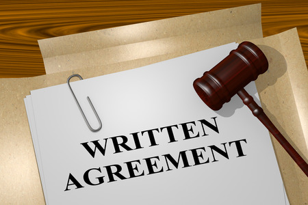 written: 3D illustration of WRITTEN AGREEMENT title on legal document Stock Photo