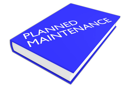 availability: 3D illustration of PLANNED MAINTENANCE script on a book, isolated on white.