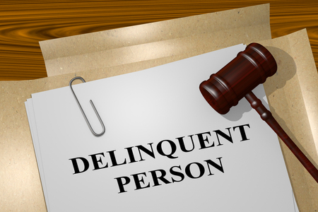 juvenile delinquent: 3D illustration of DELINQUENT PERSON title on legal document