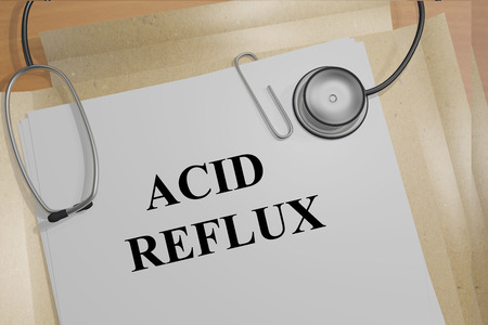 acid reflux: 3D illustration of ACID REFLUX title on medical document Stock Photo