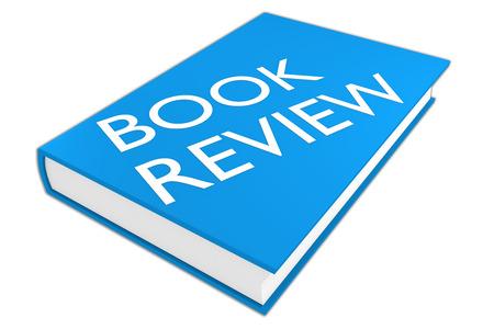 """illustrazione 3D di script """"Recensione libro"""" su un libro, isolato su bianco."""