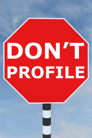 don't: 3D illustration of DONT PROFILE title on road STOP sign Stock Photo