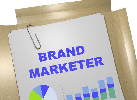 marketer: 3D illustration of BRAND MARKETER title on business document