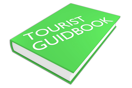 guidebook: 3D illustration of TOURIST GUIDEBOOK script on a book, isolated on white.