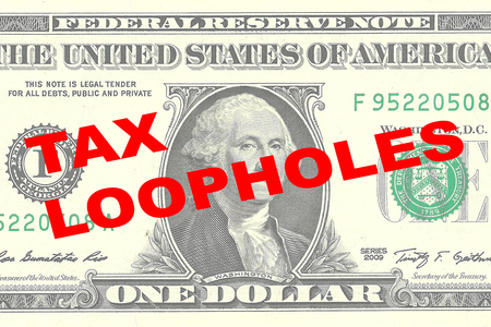 loopholes: Render illustration of TAX LOOPHOLES title on One Dollar bill as a background Stock Photo