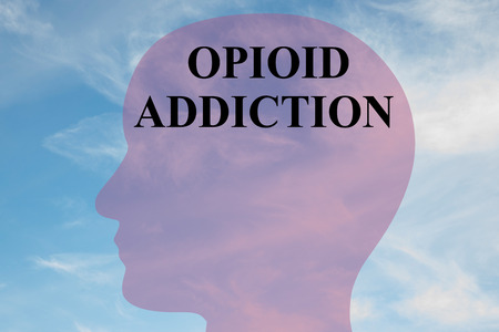 opioid: Render illustration of OPIOID ADDICTION script on head silhouette, with cloudy sky as a background. Stock Photo