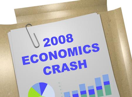 credit crunch: 3D illustration of 2008 ECONOMICS CRASH title on business document Stock Photo