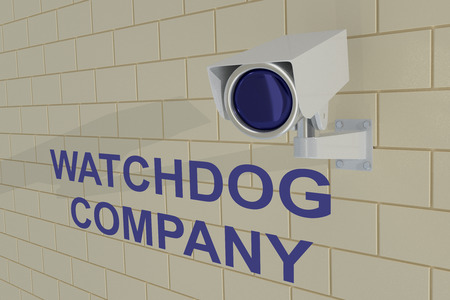 watchdog: 3D illustration of WATCHDOG COMPANY title under security camera which is mounted on brick wall