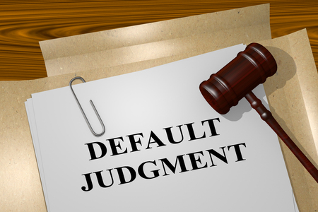 3D illustration of DEFAULT JUDGMENT title on legal document Stock Photo