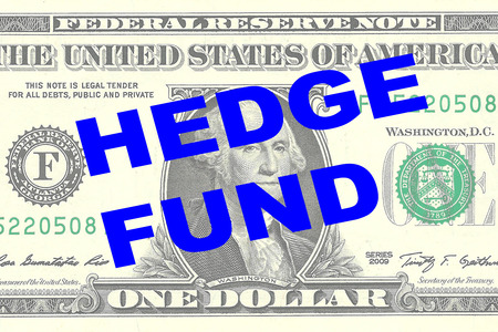 hedge: Render illustration of HEDGE FUND title on One Dollar bill as a background