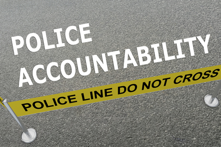 accountability: 3D illustration of POLICE ACCOUNTABILITY title on the ground in a police arena