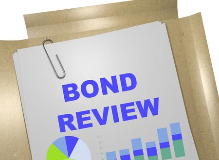 bond: 3D illustration of BOND REVIEW title on business document