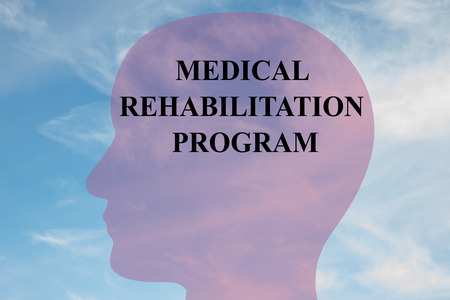 recovering: Render illustration of MEDICAL REHABILITATION PROGRAM script on head silhouette, with cloudy sky as a background. Stock Photo