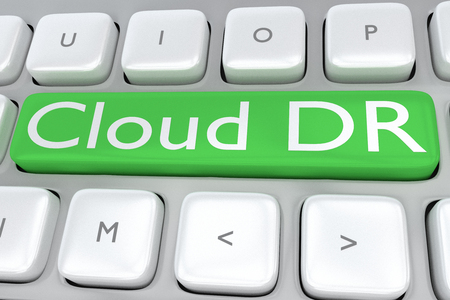 3D illustration of computer keyboard with the print Cloud DR on a green button