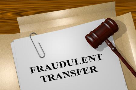 fraudulent: 3D illustration of FRAUDULENT TRANSFER title on legal document Stock Photo