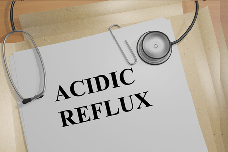 digestive disorder: 3D illustration of ACIDIC REFLUX title on medical document