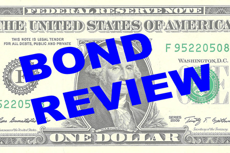 one dollar bill: Render illustration of BOND REVIEW title on One Dollar bill as a background