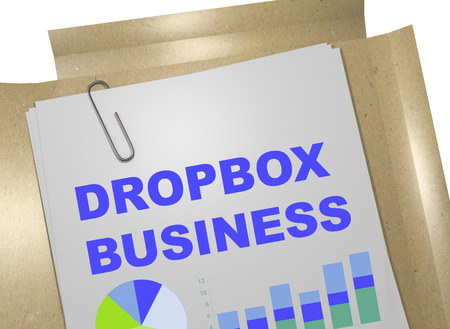 dropbox: 3D illustration of DROPBOX BUSINESS  title on business document Stock Photo
