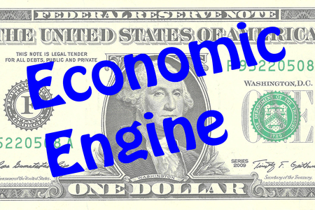 one dollar bill: Render illustration of Economic Engine title on One Dollar bill as a background. Business concept Stock Photo