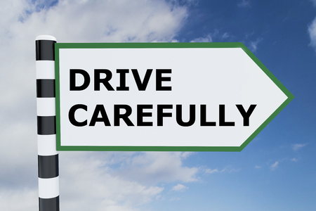 carefully: 3D illustration of DRIVE CAREFULLY script on road sign