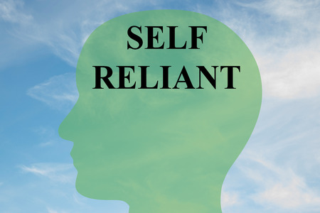 assured: Render illustration of SELF RELIANT script on head silhouette, with cloudy sky as a background.