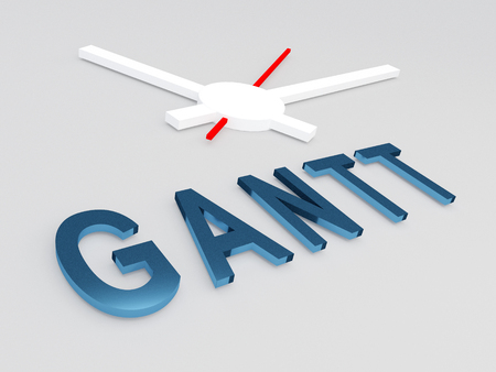 gantt: 3D illustration of GANTT title with a clock as a background Stock Photo