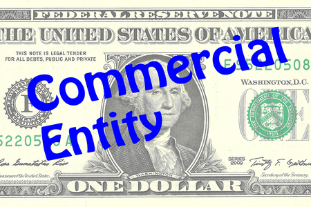 ownership equity: Render illustration of Commercial Entity title on One Dollar bill as a background Stock Photo