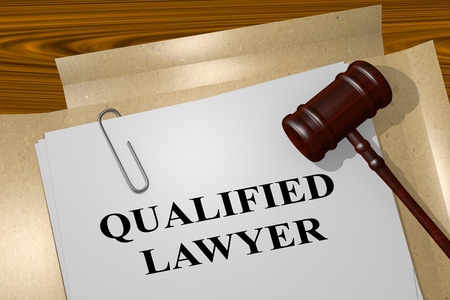 specialized job: 3D illustration of QUALIFIED LAWYER title on legal document Stock Photo