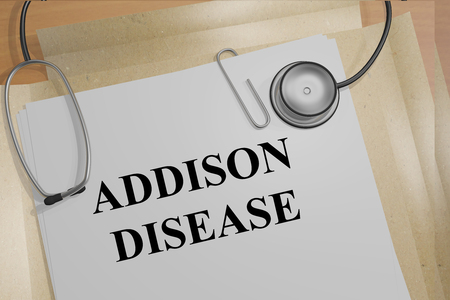 adrenal gland: 3D illustration of ADDISON DISEASE title on medical document