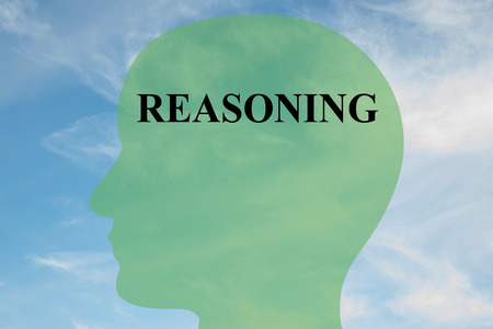 epistemology: Render illustration of REASONING script on head silhouette, with cloudy sky as a background.