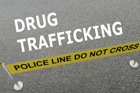 """délivrance: illustration 3D de «TRAFIC DE DROGUE"""" titre sur le sol dans une arène de police Banque d'images"""