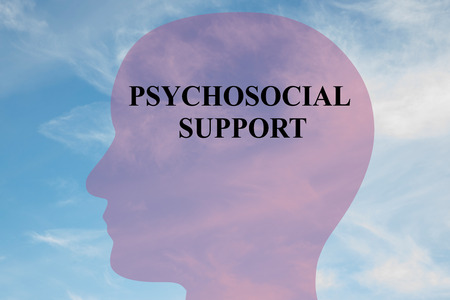 psychosocial: Render illustration of PSYCHOSOCIAL SUPPORT script on head silhouette, with cloudy sky as a background.