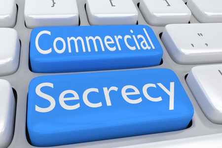 secrecy: 3D illustration of computer keyboard with the script Commercial Secrecy on two adjacent pale blue buttons