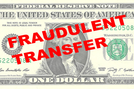 fraudulent: Render illustration of FRAUDULENT TRANSFER title on One Dollar bill as a background