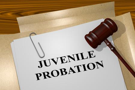 3D illustration of JUVENILE PROBATION title on legal document