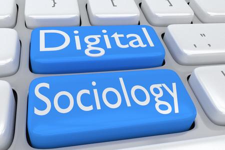 """sociology: Ilustración 3D de teclado de ordenador con el guión """"Sociología digital"""" en dos botones de color azul pálido adyacentes"""