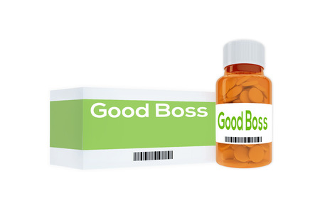 morale: 3D illustration of Good Boss title on pill bottle, isolated on white.